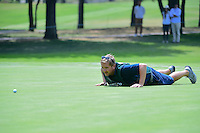 Jamie Lane, Matt Fitzpatrick's (ENG) caddie helps him read a putt that he'd eventually sink for a birdie on 5 during round 3 of the World Golf Championships, Mexico, Club De Golf Chapultepec, Mexico City, Mexico. 3/4/2017.<br /> Picture: Golffile | Ken Murray<br /> <br /> <br /> All photo usage must carry mandatory copyright credit (&copy; Golffile | Ken Murray)