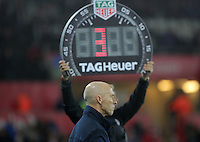 The fourth official shows three minutes of extra time over Swansea City manager Bob Bradleyduring the Premier League match between Swansea City and Sunderland at The Liberty Stadium, Swansea, Wales, UK. Saturday 10 December 2016