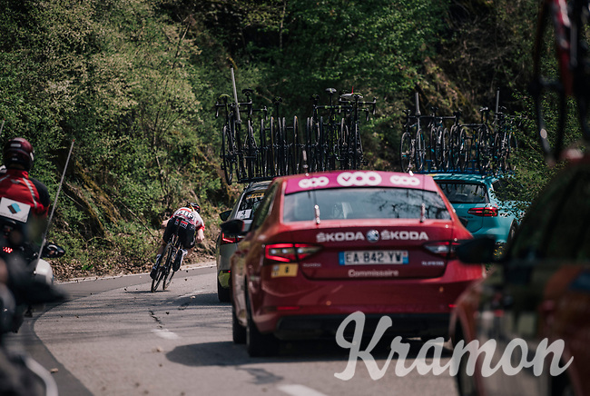 Tim Wellens (BEL/Lotto Soudal) returning at high speed in the peloton after a nature break<br /> <br /> 104th Liège - Bastogne - Liège 2018 (1.UWT)<br /> 1 Day Race: Liège - Ans (258km)