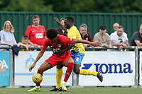 Samson Doherty of Harlow Town and Lee Angol of Leyton Orient during Harlow Town vs Leyton Orient, Friendly Match Football at The Harlow Arena on 6th July 2019