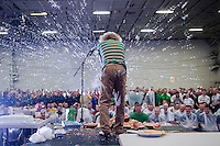 "110211-N-7981E-711 ARABIAN SEA (Feb. 11, 2011) Comedian ""Gallagher"" smashes food while performing for Sailors in the hangar bay of the Nimitz-class aircraft carrier USS Carl Vinson (CVN 70) during a show hosted by Navy Entertainment. The Carl Vinson Carrier Strike Group is deployed supporting maritime security operations and theater security cooperation efforts in the U.S. 5th Fleet area of responsibility. (U.S. Navy photo by Mass Communication Specialist 2nd Class James R. Evans / RELEASED)"
