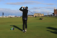 Ed Brown (AM) playing with Graeme McDowell (NIR) on the 18th tee during Round 3 of the Alfred Dunhill Links Championship 2019 at St. Andrews Golf CLub, Fife, Scotland. 28/09/2019.<br /> Picture Thos Caffrey / Golffile.ie<br /> <br /> All photo usage must carry mandatory copyright credit (© Golffile | Thos Caffrey)