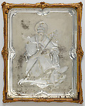 Mirror. Venice, Italy, 1730–1760. Engraved and silvered glass; carved, gessoed, and gilded wood. H x W x D: 40 × 31.5 × 2.4 cm (15 3/4 × 12 3/8 × 15/16 in.). Gift of Eleanor and Sarah Hewitt, 1915-16-8-b.