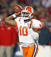Clemson Tigers quarterback Tajh Boyd (10) throws a pass against Ohio State Buckeyes during the 1st quarter in the Discover Orange Bowl at Sun Life Stadium in Miami Gardens, Florida on January 3, 2014.(Dispatch photo by Kyle Robertson)