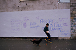 """Mountain Ash Wales.1990s Fernhill estate  over 90% are on long term unemployment  Graffiti reads """"No Dope, No Hope, No Bail Just Jail. Fernhill is Full of Grassers"""" 1998 UK HOMER SYKES"""
