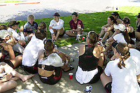 REDWOOD SHORES, CA - MARCH 31:  Aimee Baker talks to the Stanford Cardinal team after Stanford's regatta against the Santa Clara Broncos on March 31, 2001 in Redwood Shores, California.