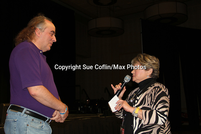 General Hospital's actor who hugs best asked of fan by host Joyce Becker - on October 5, 2019 at the Hollywood Casino, Columbus, Ohio with a Q & A and a VIP meet and greet. (Photo by Sue Coflin/Max Photo)