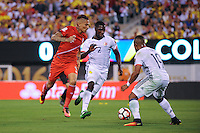 East Rutherford, NJ - Friday June 17, 2016: Paolo Guerrero, Cristian Zapata after a Copa America Centenario quarterfinal match between Peru (PER) vs Colombia (COL) at MetLife Stadium.
