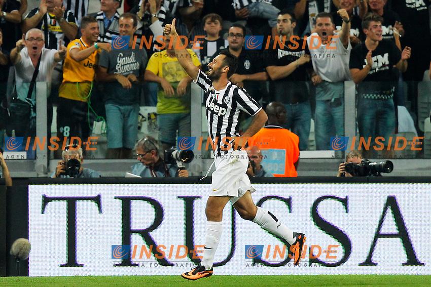 Esultanza dopo il gol di Mirko Vucinic Juventus, Goal Celebration,<br /> Torino 31-08-2013<br /> Juventus Stadium <br /> Football Calcio 2013/2014 Serie A <br /> Juventus - Lazio <br /> Foto Marco Bertorello Insidefoto
