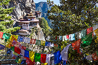 Paro, Bhutan.  Tiger's Nest Monastery.  Prayer Flags in Foreground.