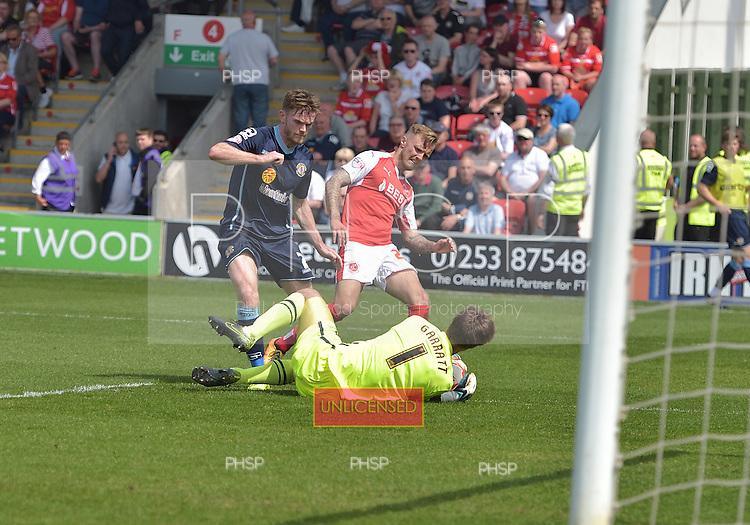 08/05/2016 Sky Bet League 1 Fleetwood Town v <br /> Crewe Alexandra<br /> Ben Garratt saves from David Ball