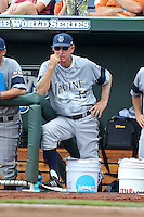 Head coach Mike Gillespie of the UC Irvine Anteaters looks on during Game 1 of the 2014 Men's College World Series between the UC Irvine Anteaters and Texas Longhorns at TD Ameritrade Park on June 14, 2014 in Omaha, Nebraska. (Brace Hemmelgarn/Four Seam Images)