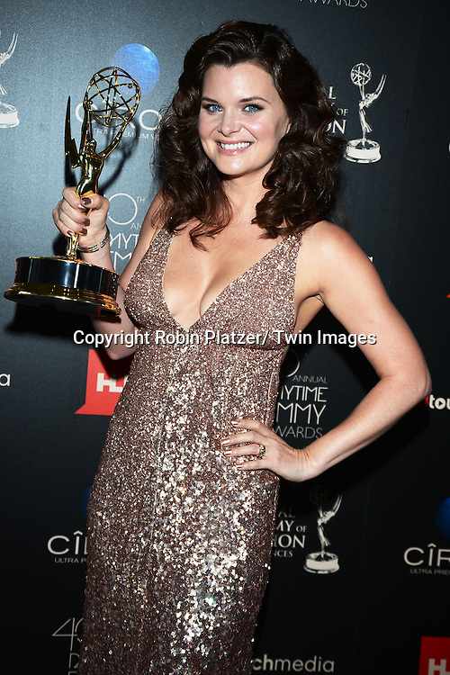 winner Heather Tom for Best Actress attends The 40th Annual Daytime Emmy Awards on<br />  June 16, 2013 at the Beverly Hilton Hotel in Beverly Hills, California.