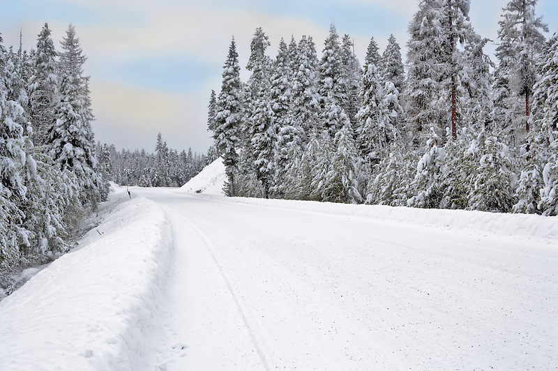 Snow covered road on the Elkhorn Drive National Scenic Byway. Oregon