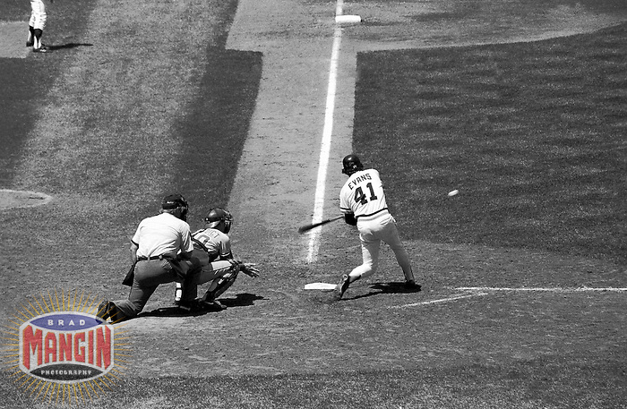 SAN FRANCISCO, CA - Darrell Evans of the San Francisco Giants bats during a game against the Atlanta Braves in 1982 at Candlestick Park in San Francisco, California. (Photo by Brad Mangin)
