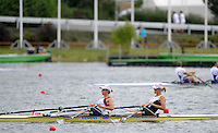 Poznan, POLAND, GBR W2X,  Bow, [R]  Anna BEBINGTON and Annie VERNON training on the Poznan, Malta Rowing Lake venue for the 2009 FISA World Rowing Championships. Saturday  22/08/2009 [Mandatory Credit. Peter Spurrier/Intersport Images]