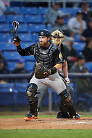 Akron RubberDucks catcher Eric Haase (13) and umpire Richard Riley look for the ball after a wild pitch during a game against the Binghamton Rumble Ponies on May 12, 2017 at NYSEG Stadium in Binghamton, New York.  Akron defeated Binghamton 5-1.  (Mike Janes/Four Seam Images)