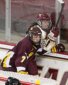 Emma Stauber (UMD - 7), Ashley Motherwell (BC - 18) - The visiting University of Minnesota Duluth Bulldogs defeated the Boston College Eagles 3-2 on Thursday, October 25, 2012, at Kelley Rink in Conte Forum in Chestnut Hill, Massachusetts.