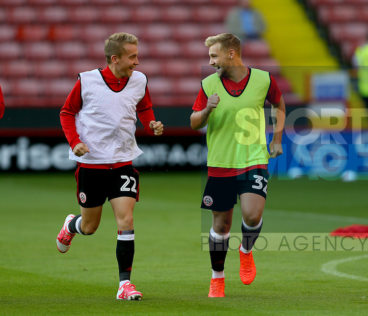 Louis Reed of Sheffield Utd and Harry Chapman of Sheffield Utd during the Checkatrade Trophy match at Bramall Lane Stadium, Sheffield. Picture date: August 30th, 2016. Pic Simon Bellis/Sportimage