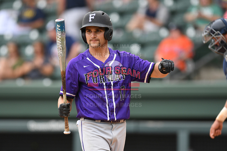Center fielder Sky Overton (17) of the Furman Paladins scores a run in a game against the UNC Greensboro Spartans at the Southern Conference Baseball Championship on Saturday, May 27, 2017, at Fluor Field at the West End in Greenville, South Carolina. UNCG won, 12-8. (Tom Priddy/Four Seam Images)