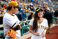 Hyomin throws out the first pitch prior to the game between the Pittsburgh Pirates and the Milwaukee Brewers at PNC Park on September 13, 2015 in Pittsburgh, Pennsylvania. (Photo by Jared Wickerham)