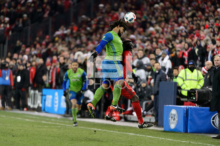 Toronto, ON, Canada - Saturday Dec. 10, 2016: Roman Torres, Jozy Altidore during the MLS Cup finals at BMO Field. The Seattle Sounders FC defeated Toronto FC on penalty kicks after playing a scoreless game.