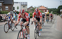Jasper De Buyst (BEL/Lotto-Soudal) piloting Jurgen Roelandts (BEL/Lotto-Soudal) ahead of the breakaway group<br /> <br /> Belgian Championships 2015
