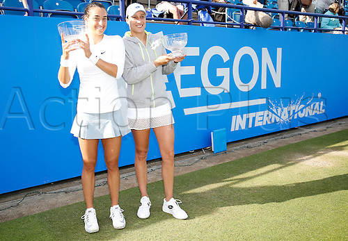 27.06.2015 Eastbourne, England. Aegon International Eastbourne Tennis Tournament Caroline Garcia (FRA) and Katarina Serbotnil (SLO) with their trophies after winning the Women's doubles final against Zheng Jie and Chan Yung-Jan  at Devonshire park.