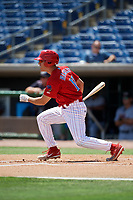 Clearwater Threshers left fielder Adam Haseley (17) follows through on a swing during a game against the Lakeland Flying Tigers on May 2, 2018 at Spectrum Field in Clearwater, Florida.  Clearwater defeated Lakeland 7-5.  (Mike Janes/Four Seam Images)