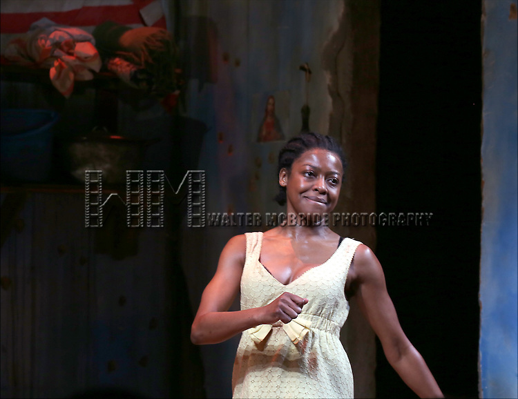 Pascale Armand onstage during the 'Eclipsed' broadway opening night curtain call at The Golden Theatre on March 6, 2016 in New York City.