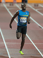 Usain BOLT of Jamaica (Men's 100m) on his way to his win during the Sainsburys Anniversary Games Athletics Event at the Olympic Park, London, England on 24 July 2015. Photo by Andy Rowland.