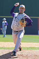 Josh Futter of James Madison University pitching in a game against UC Irvine at the Baseball at the Beach Tournament held at BB&T Coastal Field in Myrtle Beach, SC on February 28, 2010.