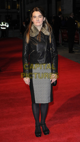 Shirley Henderson.The 'Everyday' official screening, the 56th BFI London Film Festival day 8, Odeon West End cinema, Leicester Square, London, England,.October 17th, 2012.full length black jacket grey gray leather fur collar skirt tights .CAP/CAN.©Can Nguyen/Capital Pictures.