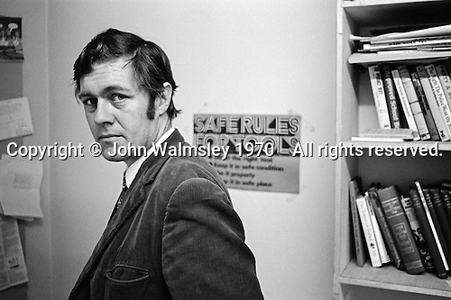 "Richard Ingrams, editor of ""Private Eye"", the satirical magazine, in his office, London, 1970."