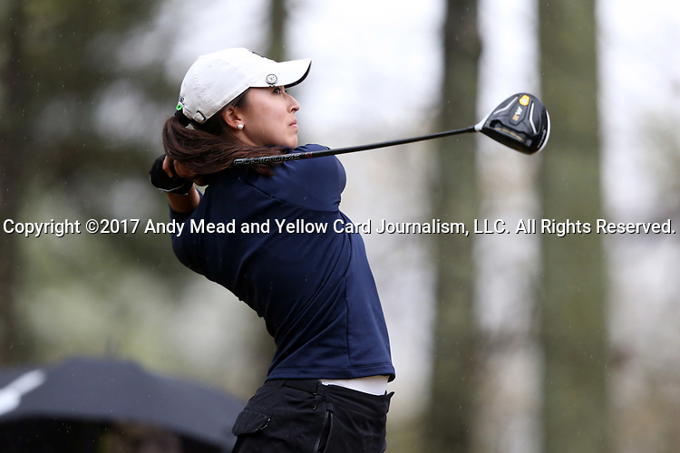 BROWNS SUMMIT, NC - MARCH 31: Notre Dame's Mia Ayer tees off on the 11th hole. The first round of the Bryan National Collegiate Women's Golf Tournament was held on March 31, 2017, at the Bryan Park Champions Course in Browns Summit, NC. A waterlogged course eventually suspended play.