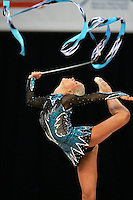 Maria Ringinen of Finland with ribbon at World Games from Duisburg, Germany on July 21, 2005.  Event finals in rhythmic gymnastics are only held at World Games. (Photo by Tom Theobald)