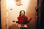 Signature Theatre Company production of Sam Shepard's Chicago at The Public Theatre in December 2000. Lia Chang backstage.  Photo courtesy of Lia Chang Archive