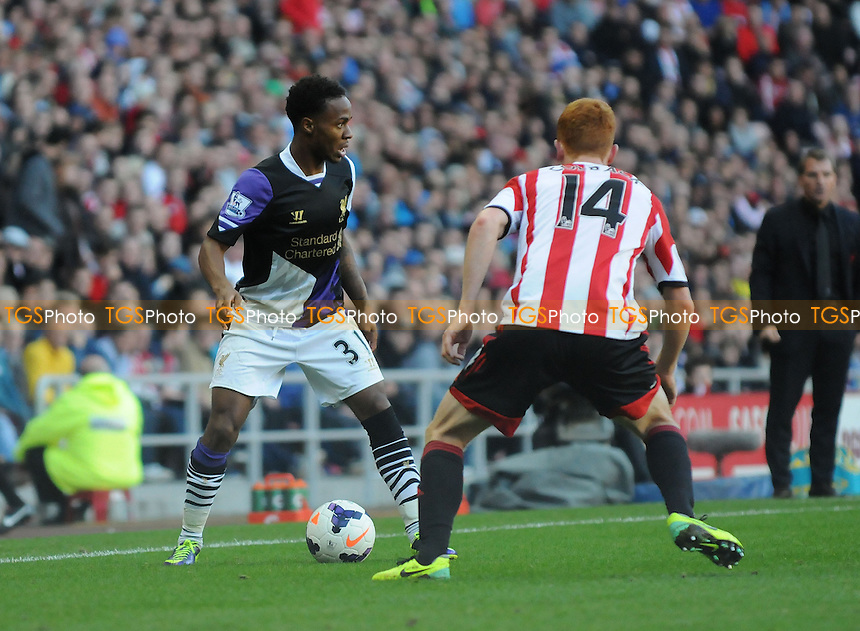 Raheem Sterling of Liverpool battles with Jack Colback of Sunderland - Sunderland vs Liverpool - Barclays Premier League Football at the Stadium of Light, Sunderland - 29/09/13 - MANDATORY CREDIT: Steven White/TGSPHOTO - Self billing applies where appropriate - 0845 094 6026 - contact@tgsphoto.co.uk - NO UNPAID USE<br />   i