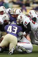 11 November 2006: Clinton Snyder, Gustav Rydstedt, Chris Horn, Trevor Hooper and Bo McNally during Stanford's 20-3 win over the Washington Huskies in Seattle, WA.