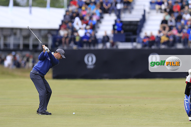David HOWELL (ENG) plays his 2nd shot on the 2nd hole during Sunday's Round  of the 144th Open Championship, St Andrews Old Course, St Andrews, Fife, Scotland. 19/07/2015.<br /> Picture Eoin Clarke, www.golffile.ie