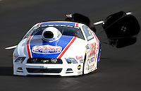 Jul. 20, 2013; Morrison, CO, USA: NHRA pro stock driver Larry Morgan during qualifying for the Mile High Nationals at Bandimere Speedway. Mandatory Credit: Mark J. Rebilas-