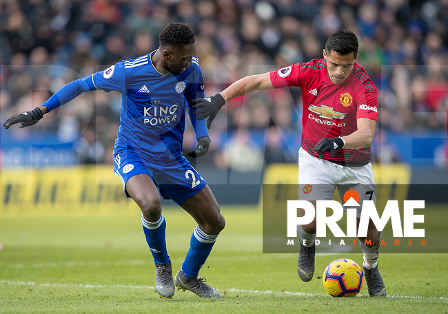Alexis Sanchez of Man Utd & Wilfred Ndidi of Leicester City during the Premier League match between Leicester City and Manchester United at the King Power Stadium, Leicester, England on 3 February 2019. Photo by Andy Rowland.