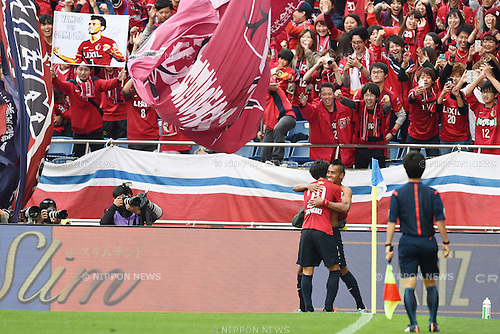 (L-R) Gaku Shibasaki, Caio (Antlers), <br /> OCTOBER 31, 2015 - Football / Soccer : <br /> 2015 J.League Yamazaki Nabisco Cup <br /> final match between Kashima Antlers 3-0 Gamba Osaka <br /> at Saitama Stadium 2002 in Saitama, Japan. <br /> (Photo by AFLO SPORT)