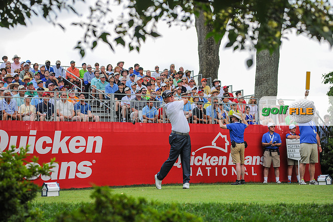 Charley Hoffman (USA) watches his tee shot on 1 during round 2 of the 2016 Quicken Loans National, Congressional Country Club, Bethesda, Maryland, USA. 6/24/2016.<br /> Picture: Golffile | Ken Murray<br /> <br /> <br /> All photo usage must carry mandatory copyright credit (&copy; Golffile | Ken Murray)