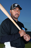 March 1, 2010:  Catcher Jose Molina (8) of the Toronto Blue Jays poses for a photo during media day at Englebert Complex in Dunedin, FL.  Photo By Mike Janes/Four Seam Images