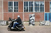 Nederland Amsterdam 2017 08 07. Graffiti op de NDSM Werf in Amsterdam Noord. Man rijdt langs een portret van Maxima.  Foto Berlinda van Dam / Hollandse Hoogte