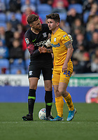 Preston North End's Declan Rudd (left) checks that Sean Maguire (right) is OK after been brought down by Reading's Andy Yiadom's tackle<br /> <br /> <br /> Photographer David Horton/CameraSport<br /> <br /> The EFL Sky Bet Championship - Reading v Preston North End - Saturday 19th October 2019 - Madejski Stadium - Reading<br /> <br /> World Copyright © 2019 CameraSport. All rights reserved. 43 Linden Ave. Countesthorpe. Leicester. England. LE8 5PG - Tel: +44 (0) 116 277 4147 - admin@camerasport.com - www.camerasport.com