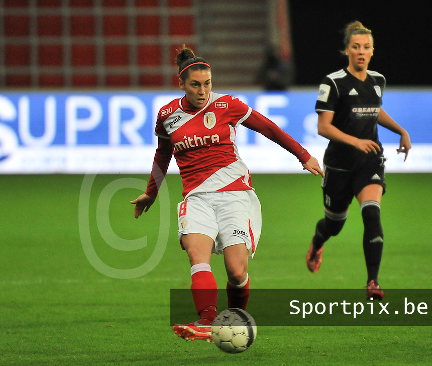 20131009 - LIEGE , BELGIUM : Standard's Audrey Demoustier pictured during the female soccer match between STANDARD Femina de Liege and  GLASGOW City LFC , in the 1/16 final ( round of 32 ) first leg in the UEFA Women's Champions League 2013 in stade maurice dufrasne - Sclessin in Liege. Wednesday 9 October 2013. PHOTO DAVID CATRY