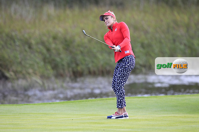 Lexi Thompson of Team USA on the 9th during Day 1 Fourball at the Solheim Cup 2019, Gleneagles Golf CLub, Auchterarder, Perthshire, Scotland. 13/09/2019.<br /> Picture Thos Caffrey / Golffile.ie<br /> <br /> All photo usage must carry mandatory copyright credit (© Golffile | Thos Caffrey)