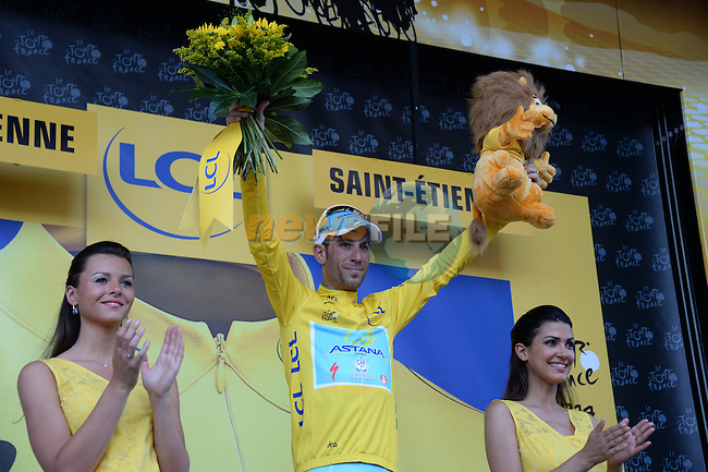 Race leader Vincenzo Nibali (ITA) retains his Yellow Jersey at the end of Stage 12 of the 2014 Tour de France running 185.5km from Bourg-en-Bresse to Saint Etienne. 17th July 2014.<br /> Photo ASO/X.Bourgois/www.newsfile.ie